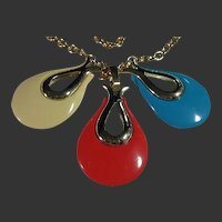 Signed Sarah Coventry Vintage 3 Changeable Drop Pendant / Necklace