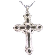 Stunning Pendant Necklace Cross Jackie Kennedy Silver Tone & Black
