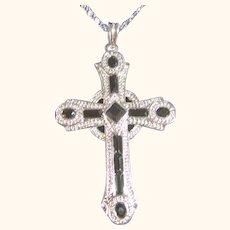 Stunning Pendant Necklace Cross Jackie Kennedy Silver Tone & Black