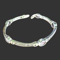 Sterling Silver 925 Amethyst & Marcasite Bracelet