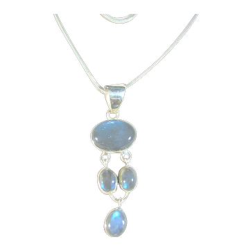 Sterling Silver 925 Labradorite Blue Articulating Drop Pendant / Necklace