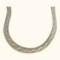 Herringbone Tri-Colored 925 Sterling Silver Necklace