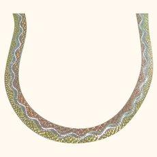 Herringbone Tri-Colored 925 Sterling Silver Necklace