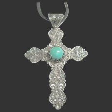Fine Filigree Sterling Silver 925 Cross Pendant / Necklace