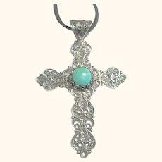 Fine Filigree Sterling Silver 925 Cross Pendant / Necklace