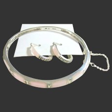 Sterling Silver 925, Pink Mother of Pearl & Marcasite Bracelet & Hoop Earrings Set