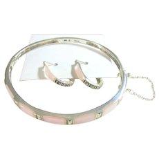 Sterling Silver 925, Pink Mother of Pearl & Marcasite Bracelet & Hoop Earrings Set