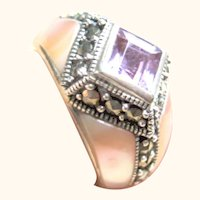 Woman's Size 6 Sterling Silver 925 MOP, Amethyst & Marcasite Ring