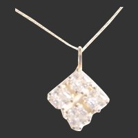 Fine 14kt Gold & Sparkling CZ Dimonique Pendant / Necklace