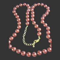 Joan Rivers Showy Fall Copper Colored Beads/Faux Pearls Necklace