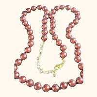 Joan Rivers Showy Fall Copper Colored Faux Pearls Necklace