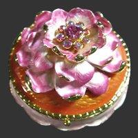 Joan Rivers Vintage Jeweled Pink Flower Secrets Keepsake Box, Brooch & Earrings