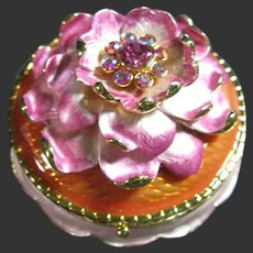 Joan Rivers Vintage Jeweled Pink Flower Secrets Keepsake Box, Brooch & Earrings
