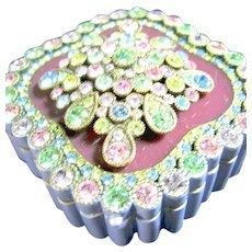 Joan Rivers Vintage Jeweled Enameled Purple Box & Brooch & Earrings