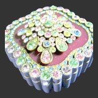 Joan Rivers Vintage Jeweled Secrets Keepsake Box Purple Brooch & Earrings