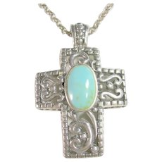 Stunning Sterling Silver 925 & Turquoise Cross Pendant / Necklace