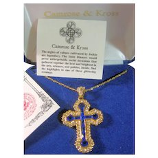 Cross Pendant Necklace Jackie Kennedy Gorgeous Blue Baguettes & Clear Crystals