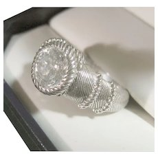Woman's Ring Signed Judith Ripka 925 Sterling Silver Size 6