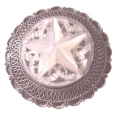 Vintage Sterling Silver 925 & Mother of Pearl Star Brooch/Pin