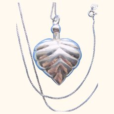 925 Sterling Silver Perfume Puffy Heart Dabber Pendant/Necklace