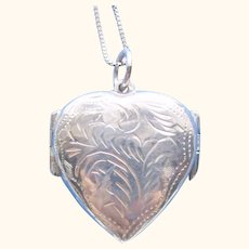 Sterling 925 Silver Double Heart Four (4) Picture Locket Pendant/Necklace