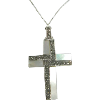 Sterling Silver Mother of Pearl & Marcasite Cross Pendant/Necklace