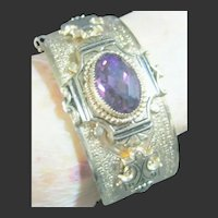 Victorian Style Engraved & Embossed Cuff Bracelet With Purple Center