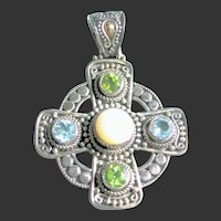 Celtic Cross 925 Sterling Silver,18kt Peridot, Blue Topaz, Moonstone Gems Pendant