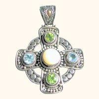 Celtic Cross 925 Sterling Silver,18kt Peridot, Blue Topaz, Moonstone Gems Pendant
