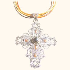 Big Lacy Showy Cross Sterling Silver 925 & 18kt Gold Pendant/Necklace