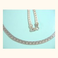 Long Herringbone 925 Sterling Silver Kisses Pattern Italian Necklace
