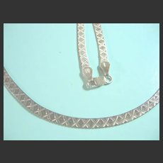 Long Herringbone 925 Sterling Silver Kisses Italian Pattern Necklace