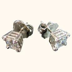 Designer Judith Ripka Diamonique & Sterling 925 Post Pierced Stud Earrings