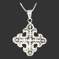 Ornate Italian Sterling Silver 925 Cross Pendant / Necklace