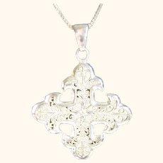 Ornate Italian Sterling Silver 925 Cross Pendant / Necklace