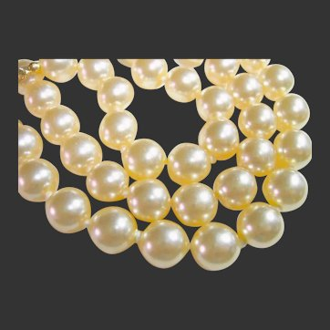 KJL Kenneth J. Lane Faux Pearl 3 Strand Necklace