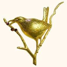 Signed Joan Rivers Bird Faux Garnets Brooch/Pin