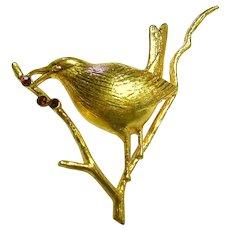 Signed Joan Rivers Bird on Limb Faux Garnet Brooch/Pin