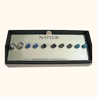 Signed Napier 5 Changeable Dainty Post Crystals Pierced Earrings