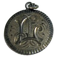 Antique Victorian Engraved Initials LJ Love Token Coin Charm