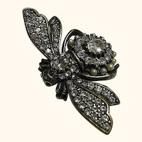 Big Joan Rivers Antiqued Bee Brooch / Pin Earrings Set Figural
