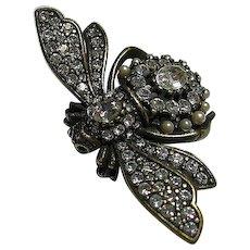 Big Joan Rivers Antiqued Bee Brooch / Pin Earrings Set Figural