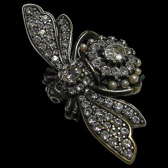 Big Joan Rivers Antiqued Bumble Bee Brooch / Pin Figural