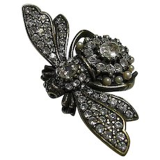 Big Joan Rivers Antiqued Bumble Bee Brooch / Pin Set Figural