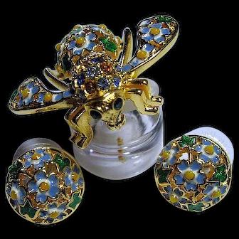 Joan Rivers Enamel Bee Brooch/Pin & Pierced Earrings SET