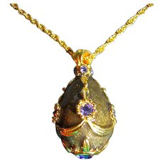 Joan Rivers Gorgeous Egg Pendant Necklace Green/Gold Enamel & Purple Stones