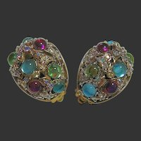 Joan Rivers Colorful & Aurora Borealis Clips Earrings