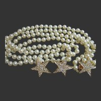 Joan Rivers 2 Strand Simulated Pearl Star Necklace & Clip-On Earrings Set