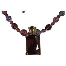 Long Purple Amethyst Iridescent Necklace Joan Rivers
