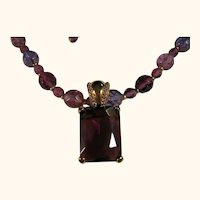 Long Purple Bead Necklace/Pendant Joan Rivers